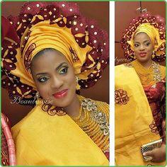 Brown Nigerianwedding beautiful wineandyellowasooke yellowasooke | Iya Eko - Trending African Fashion