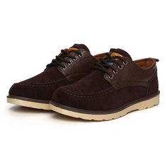 Sale 22% (24.31$) - New Men Casual Suede Fashion Breathable Comfortable Lace-Up Non-Slip Shoes