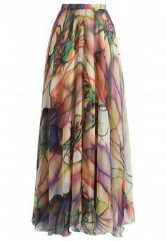 Cherry Blossom Watercolor Chiffon Maxi Skirt - Retro, Indie and Unique Fashion Unique Fashion, Look Fashion, Fashion Outfits, Fashion Tips, Classy Fashion, French Fashion, Hijab Fashion, Men Fashion, Spring Fashion