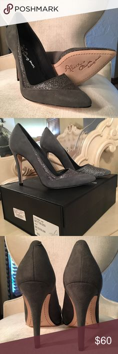Alice and Olivia heels Alice + Olivia DEON KID SUEDE GLTR INSET HEEL. Color Grey/sliver size 38.5. Comes with box and dust bag. Never worn Alice + Olivia Shoes Heels