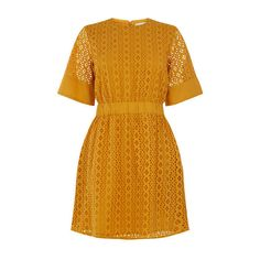 Warehouse Warehouse Broderie Dress Size 10 (33 AUD) ❤ liked on Polyvore featuring dresses, yellow, yellow summer dress, day summer dresses, embroidery dress, warehouse dresses and embroidered summer dress