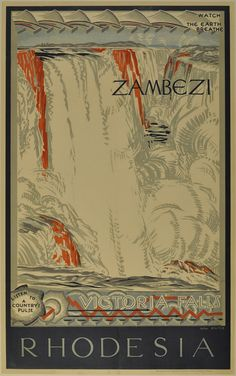 Rhodesia Victoria Falls Zambezi Travel Poster by BloominLuvly Retro Poster, Poster Ads, Poster Prints, Art Prints, Chutes Victoria, Pub Vintage, Kunst Poster, Victoria Falls, All Nature