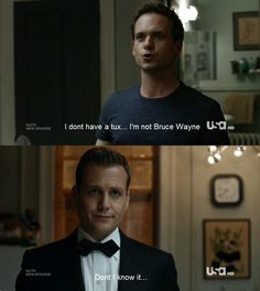 """10 fun facts about suits // mike & harvey """"i'm not bruce Serie Suits, Suits Tv Series, Suits Tv Shows, Suits Quotes, Tv Quotes, 2pac Quotes, Qoutes, Suits Usa, Suits Harvey"""