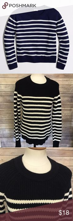 """J. Crew Factory Striped Crew Neck Sweater J. Crew Factory Striped Crew Neck Sweater, Size S. No flaws! 100% Cotton Measurements: Bust: 36"""" Length: 23""""  *All measurements are approximate with item lying flat.  stock #1405 J. Crew Factory Sweaters Crew & Scoop Necks"""