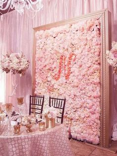 Floral Wedding Decorations, Stage Decorations, Bridal Shower Decorations, Flower Decorations, Wedding Ideas, Flower Wall Backdrop, Wall Backdrops, Flower Wall Wedding, Wedding Flowers