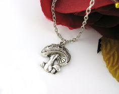 Silver Mushroom Necklace  Mushroom Jewelry Alice by luckymejewelry, $10.90