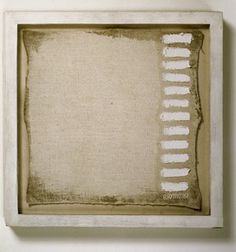 "Robert Ryman, - A painting of twelve strokes, measuring 11 1/4"" x 11 1/4"" signed at the bottom right corner, 1961; oil and gesso on linen canvas, 14 in. x 14 in. x 1 1/2 in. (35.56 cm x 35.56 cm x 3.81 cm); Collection SFMOMA,"