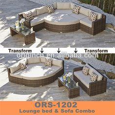 Vintage estilo de ahorro de espacio versátil impermeable muebles de rattan outdoor patio conjunto grandes lotes
