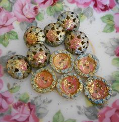 Pastel Metallic Hand Painted Buttons by playback on Etsy, $8.00