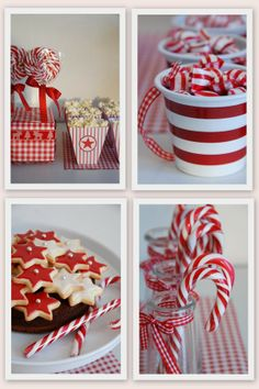 RED & WHITE STRIPE PARTY (i love the candy mugs with ribbon handles!)