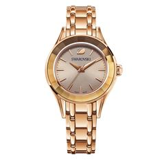 SWAROVSKI ALEGRIA LADIES SILVER FACED WATCH, YELLOW GOLD