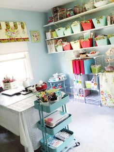 CRAFTY STORAGE: Anabelle O'Malley's scrap space // I like the open shelving and use of baskets