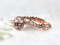Hey, I found this really awesome Etsy listing at https://www.etsy.com/listing/209072436/14k-rose-gold-ring-set-diamond-halo