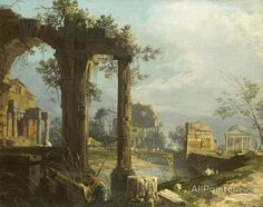 Giovanni Antonio Canal (called Canaletto),A Caprice:  View With Ruins oil painting reproductions for sale