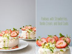 Pavlovas with Strawberries, Vanilla Cream, and Basil Coulis Recipe