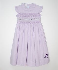 Take a look at the Lavender Smocked Polka Dot Initial Dress - Toddler & Girls on #zulily today!