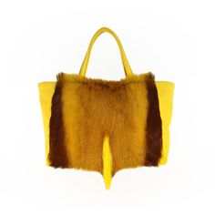 ANTELOPE TOTE by PEcado - handmade in our facility in Northern Michigan out of genuine yellow antelope hide with combination of cowhide leather | evening, every day handbag | exotic leather designer purse | designer bags and accessories | high-end fur bag | top handle purse | yellow and brown tote bag |