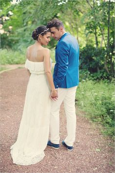 Stylish bride and groom in blue and white inspired by the bride's father's wedding look. Captured By: Anne-Claire Brun ---> http://www.weddingchicks.com/2014/06/05/vintage-chic-french-wedding/