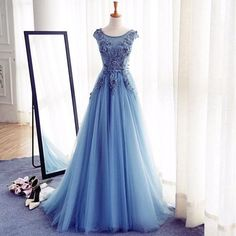 Blue Cap Sleeves Applique Cheap Long Prom Dresses, PM0247 The dress is fully lined, 4 bones in the bodice, chest pad in the bust, lace up back or zipper back are all available. This dress could be cus