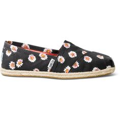 0eb8b433259 TOMS Black Daisy Print Women s Classics (1.145 UYU) ❤ liked on Polyvore  featuring shoes