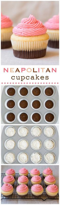 Neapolitan Cupcakes - these cupcakes are soft as clouds and the flavors are AMAZING! Milk chocolate, vanilla bean and fresh strawberry. I wonder if M will like these cupcakes? Cupcake Recipes, Baking Recipes, Cupcake Cakes, Dessert Recipes, Cup Cakes, Diy Cupcake, Cupcake Shops, Frosting Recipes, Cookie Recipes