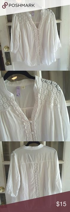 Alya from franceasca Loss flowy top sheer croshayd detail on shoulders  and down the back haf sleeves with elastic at the end of them 21 inches from armpit to armpit 25 inches from shoulder to bottom of shirt Francesca's Collections Tops Blouses