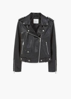 Байкерская куртка с простёганными вставками | MANGO МАНГО