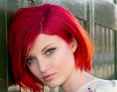 Hot pinky red into hot copper. Wicked hair colour