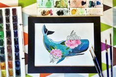 I whale always love U...(watercolor) by 4erta on @creativemarket