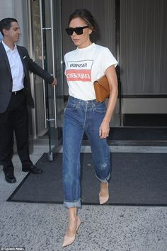Fashion Emergency! Victoria Beckham is naturally keen to make a style statement wherever she goes, as illustrated on Wednesday as she stepped out in New York while sporting a cheeky slogan tee adorned with the lettering: 'Fashion emergency'