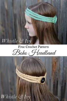Crochet Headband Free Crochet Pattern - This stretchy boho headband works up quick and is a perfect accessory for warmer months! {Pattern by Whistle Bandeau Crochet, Crochet Headband Free, Free Crochet, Knit Crochet, Diy Headband, Braid Headband Tutorial, Hippie Headbands, Bohemian Headband, Baby Headbands