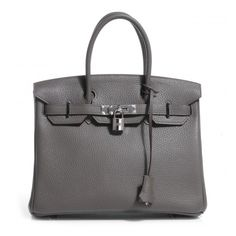 c6406baec3 HERMES Taurillon Clemence Birkin 30 Etain NEW ❤ liked on Polyvore featuring  bags, handbags,