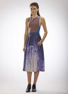 AW14 Cristina Sabaiduc Womenswear Collection   Racer Back Two-tone Top / Mocha/Teal Mid-calf Double Pleated Skirt / Night Sky Print