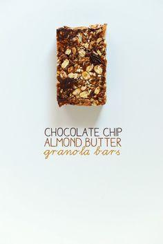 Chocolate Chip Almond Butter Granola Bars | #vegan #glutenfree optional | 6 ingredients