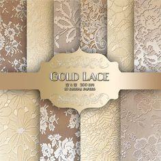 Uso comercial de oro paquete de papel Digital de encaje - Vintage boda encaje oro metal patrón fondos para scrapbooking, invitaciones de boda-