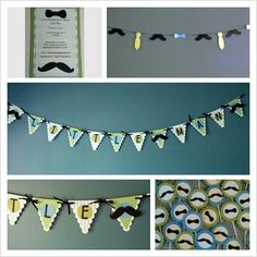 """""""Little Man"""" baby shower  cupcake toppers, banners and invitations made by Cuz She's Crafty.... order now"""