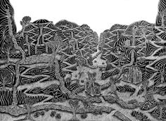 The Lost Valley by Nick Rendall Pen Art, Landscape Illustration, Three Dimensional, My Drawings, Wildlife, Challenge, Sketches, Illustrations, Create