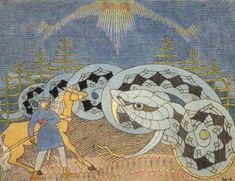 Lemminkäinen and the great serpent. Joseph Alanen The Kalevala. Graphic Design Illustration, Illustration Art, Myths & Monsters, Colorful Paintings, Illustrations, Gravure, Ancient Art, Art Forms, Finland