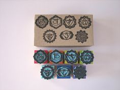 Set of 7 rubber stamps of  7 CHAKRAS. by SamadhiArtShop on Etsy