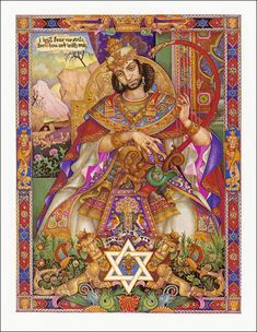 King David, from 'The Book of Ruth with Illustrations' by Arthur Szyk. New York, The Heritage Press, Jewish History, Jewish Art, Grimm's Fairy Tales Book, Book Of Ruth, Jugendstil Design, Illuminated Manuscript, Illuminated Letters, Christian Art, Illustration Art