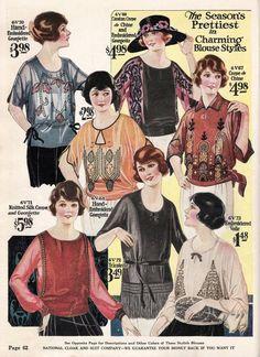 History of Ladies 1920s Blouses, Shirts and Tops photo @VintageDancer.com