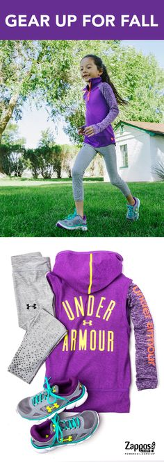 Equip her for practice or school days in stylish activewear by Under Armour.  Get her in a performance knit top under a cozy cotton vest, ultrasoft stretchy leggings and durable lightweight sneakers to keep moving in comfort and style. Shop our complete collection of girls' activewear!