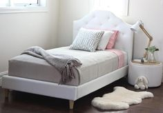 SOPHIE'S BEDROOM - MIA Single White Upholstered Bed
