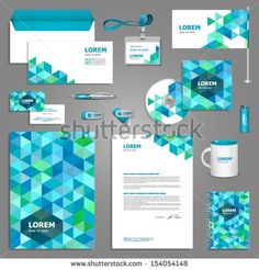 Stationery template design with blue and green geometric elements. Documentation for business.