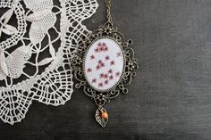 Oval Antique Brass Necklace  Fantasy Border  by TheBlueRabbitHouse, €20.00