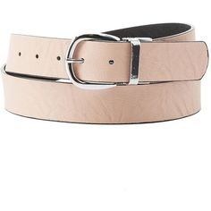 Charlotte Russe Reversible Faux Leather Buckle Belt ($13) ❤ liked on Polyvore featuring accessories, belts, blush combo, charlotte russe, buckle belt and reversible belt
