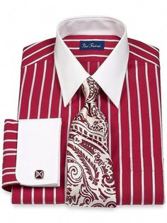Men's Clothing: Work Paul Fredrick Men's Cotton Straight Collar French Cuffs and Striped Dress Shirt: Clothes French Cuff Dress Shirts, Red Shirt Dress, Men Dress, Suit Shirts, Cool Shirts, Shirt Men, Sharp Dressed Man, Well Dressed Men, Shirt Tie Combo