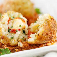 Przepis na arancini - Zakumaj.pl Mozzarella, Baked Potato, Risotto, Cauliflower, Potatoes, Meat, Chicken, Baking, Vegetables