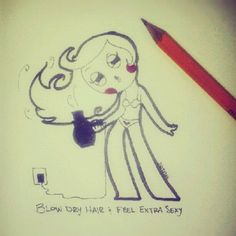 yay for blow drying hair! sutefeni.com #art #illustration #cute #hair