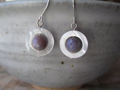 Mother of Pearl Earrings Purple Agate by MillyLillyDesigns on Etsy